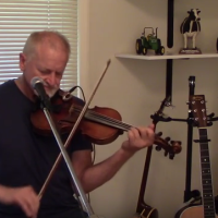 John E Hall with his fiddle